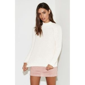 Kendall & Kylie Open Back White Turtleneck Sweater